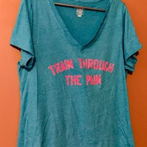 Bright Blue and Pink Gym Training Tee
